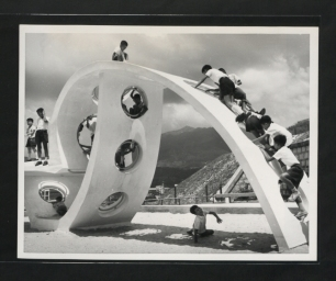 "Description: Hong Kong children having fun at the new adventure playground, scramble up the ""strap"" of a giant wrist watch lying on its side. Location: Kowloon, Hong Kong Date: 1969 ------------------------------------------------------ Our Catalogue Reference: Part of CO 1069/471. This image is part of the Colonial Office photographic collection held at The National Archives. Feel free to share it within the spirit of the Commons. Please use the comments section below the pictures to share any information you have about the people, places or events shown. We have attempted to provide place information for the images automatically but our software may not have found the correct location. For high quality reproductions of any item from our collection please contact our image library"